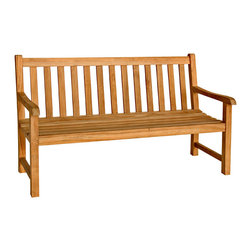 Bambeco Teak Classic 5' Bench - Add casual and cool eco flair to your patio with the sustainable Teak Classic 5' Bench. The wood used in these pieces is sourced from sustainably harvested and carefully managed teak forests. Refined, casual and contemporary, these pieces feature meticulous attention to detail and will stand the test of time. Assembly required.Dimensions: 60W x 36H x 25.5D x 17 seat height x 25 arm height