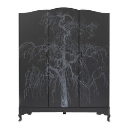 ecofirstart - Planet Queen - An oak armoire from the 1940s gets a whole new life in your home. It's been eco-consciously restored and hand painted to bring a mystical, dreamlike quality to your eclectic bedroom.