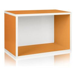 Way Basics - Way Basics Eco Stackable Rectangle Shelf, Orange - Made from the same sturdy zBoard, the Rectangle will make your life easier as you organize your garage, closet or kid's playroom! Mix and match to create your own bookshelf from a combination of Storage Cubes and Rectangles. Make storage personal again with this latest edition to the collection.
