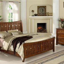 Riverside Furniture - Craftsman Home 4-Piece Bedroom Set in Americana Oak Finish - Choose Bed Size: Queen