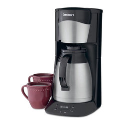 "Cuisinart - Cuisinart DTC-975 12-Cup Programmable Thermal Coffeemaker - Black & Stainless - - Shop for Coffee Makers from Hayneedle.com! The Black 12-Cup Programmable Thermal Coffeemaker is the ideal machine for those who insist on rich flavorful coffee without the hassle. This high-quality coffeemaker comes complete with a 12-cup thermal carafe designed with double walls to better insulate the coffee and keep it hot and tasty for hours. On top of the carafe is a patented Brew Through/Pour Through Lid which keeps air out and flavor in. This versatile coffee machine features an automatic shut-off 24-hour programmability an audible ""cycle complete"" signal and Brew Pause for mid-cycle pouring. An easy-to-see water level indicator ensures that you get the perfect cup every time. Limited three-year manufacturer's warranty included. About CuisinartOne of the most recognized names in cookware and kitchen products Cuisinart first became popular when introduced to the public by culinary experts Julia Child and James Beard. In 1973 the Cuisinart food processor revolutionized the way we create fine food and healthy dishes and since that time Cuisinart has continued its path of innovation. Under management by the Conair Corporation since 1989 Cuisinart is a universally celebrated name in kitchens across the globe. With a full-service product line including bakeware blenders coffeemakers cookware countertop appliances kitchen tools and much much more Cuisinart products are preferred by chefs and loved by consumers for durability ease of use superior quality and style."