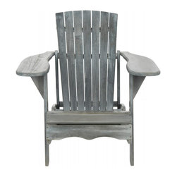 Safavieh - Mopani Chair, Ash Grey - Inspired by the original Adirondack chair designed in 1903, the Mopani Chair exudes 21st century rustic chic charm. Created for sitting back and enjoying conversation, this chair's wide arm rest and deep slat back are crafted for comfort of sustainable acacia wood in ash grey finish with silver galvanized hardware.