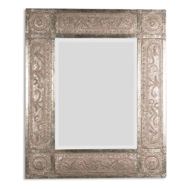 Uttermost - Harvest Serenity Champagne Gold Mirror - Five feet of gorgeousness could be hanging on your wall right now. The frame looks like it was hand forged by an artisan from the Middle Ages. It's heavily distressed with champagne leaf finish and black undertones. This mirror deserves a toast!
