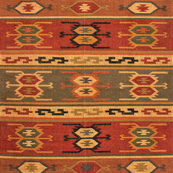 """Jaipur Rugs - Flat Weave Tribal Pattern Multi Color Hemp/Jute Handmade Rug - BD01, 4x6 - See how a rustic look can be oh-so refined. This Bedouin-inspired rug showcases rich, saturated colors in a beautiful tribal """"kilim"""" design that will inspire your imagination. Use this rug as a counterpoint to light upholstered furniture or as a complement to dark woods and leathers in your living room or study."""