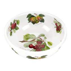 Portmeirion - Portmeirion Pomona Classics Salad Bowl - 49310 - Shop for Bowls and Candy Dishes from Hayneedle.com! About PortmeirionStrikingly beautiful eminently practical refreshingly affordable. These are the enduring values bequeathed to Portmeirion by its legendary co-founder and designer Susan Williams-Ellis. Her father architect Sir Clough Williams-Ellis was the designer of Portmeirion the North Wales village whose fanciful architecture has drawn tourists and artists from around the world (including the creators of the classic 1960s TV show The Prisoner). Inspired by her fine arts training and creation of ceramic gifts for the village's gift shop Susan Williams-Ellis (along with her husband Euan Cooper-Willis) founded Portmeirion Pottery in 1960. After 50+ years of innovation the Portmeirion Group is not only an icon of British design but also a testament to the extraordinarily creative life of Susan Williams-Ellis.The style of Portmeirion dinnerware and serveware is marked by a passion for both pottery manufacturing and trend-setting design. Beautiful tactile nature-inspired patterns are a defining quality of Portmeirion housewares from its world-renowned botanical designs modeled on antiquarian books to the breezy natural colors of its porcelain and earthenware. Today the Portmeirion Group's design legacy continues to evolve through iconic brands such as Spode the Pomona Classics collection and the award-winning collaboration of Sophie Conran for Portmeirion. Pomona for Portmeirion:Classical in both its inspiration and its style the Pomona Collection from Portmeirion Group is a garden of earthly delights. Named for the ancient Roman goddess of fruit and abundance its lifelike patterns and fruit motifs are inspired by a collection of early 19th-century books of hand-colored botanical drawings. The Pomona Collection was introduced in 1982 by legendary designer and Portmeirion co-founder Susan Williams-Ellis whose iconic garden- and botanical-themed designs are still among the world's most popular casual tableware motifs.The Pomona Collection's intricately detailed botanical drawings feature green leaf borders and multi-color fruit displays on a background of high-fired white earthenware. Each distinctive motif bears an elegant cursive title to indicate its botanical origins. These include The Hoary Morning Apple The Teinton Squash Pear The Wild Blackberry The Roman Apricot Grimwoods Royal George (Peach) and The Late Duke Cherry. Together the multiple motifs and dishes of the Pomona Collection of serveware dinnerware and drinkware create bountiful opportunities for mixing and matching sets. Made of dense earthenware these pieces are dishwasher- microwave- freezer- and oven-safe (to 350 F). Give nature its fullest expression in every season and setting with the Pomona Collection from Portmeirion.