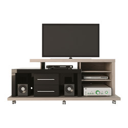 Manhattan Comfort - Empire TV Stand, Nature White and Black - One of the best sellers in the furniture market now has a new version. The Empire TV stand hits the market with innovative and unique patterns, in addition to a modern design that practical and sleek. Choose from 3 different colors to match your living room decor.