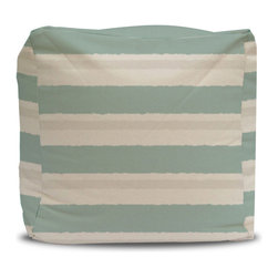 Pouf and Cover Seafoam and Gray Stripe, 12x12 - This listing is for a pouf insert and a cotton duck zippered cover.  Each pouf is covered in a PC Textile exclusive cotton duck natural fabric!  These poufs are so versatile and in addition to their many functions they double as stylish decor.