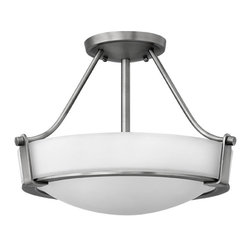 Hinkley - Hathaway 3-Light Chandelier Antique Nickel - This 3-Light Hathaway Chandelier finished in Antique Nickel and complemented in a White Glass by Hinkley providing a warm and inviting theme for your entryway or dining area