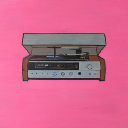 Iconic Vintage Hi-Fi Stereo Painting (Original) by Wyatt Mcdill - This painting is for anyone who's a fan of music, records, strong and simple design, and old fashioned machines.
