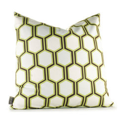 """Inhabit - Estrella Plinko Pillow in Grass - Inhabit's entire line of coordinating items makes it easy to mix and match bedding with wall decor and pillows for a custom look that is as unique as you are. With Inhabit, the choices are many and the options are limitless. Features: -Estrella collection. -Made from 100% sustainable recycled polyester. -Handprinted and handmade in the USA. -Environmentally-friendly inks with no chemical waste or disposal generated. -Recyclable at the end of its life-cycle. -Zipper closure for easy removal and cleaning. -Pillow inserts are 95% feather / 5% down. Specifications: -Material: Polyester. -Available sizes:. -18"""" W x 18"""" L. -13"""" W x 24"""" L."""