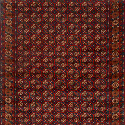 """ALRUG - Handmade Red/Rust Oriental Kargai Rug 6' 8"""" x 9' 4"""" (ft) - This Afghan Kargai design rug is hand-knotted with Wool on Cotton."""