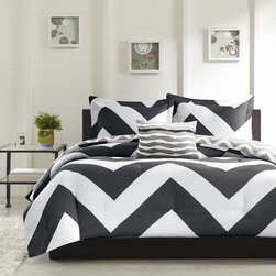 Mi-Zone - Mizone Pisces Reversible 4-PIece Duvet Cover Set - The Pisces duvet cover adds a dramatic pop to your bedroom with a bold black and white chevron print that creates a fun vibrant look to any bedroom. A smaller scale gray and white chevron print covers the reverse.