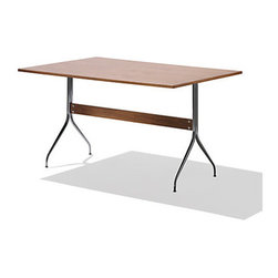 Nelson Swag Leg Work Table by Herman Miller - Part of the renowned swag leg group, the Nelson Swag Leg Table represents a revival of a historic collection by the longtime partner of Herman Miller, George Nelson. Introduced in 1958, the group's evocative chairs, tables and desks have a look, scale and function that are right for today. These classic, sculpted designs can be used individually or together in the home or office. The Swag Leg Work Table provides an expansive work space that easily allows you to spread out papers and other items. This rectangular work table can also cleverly act as a dining table.