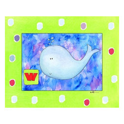 Oh How Cute Kids by Serena Bowman - W is for Whale, Ready To Hang Canvas Kid's Wall Decor, 11 X 14 - Each kid is unique in his/her own way, so why shouldn't their wall decor be as well! With our extensive selection of canvas wall art for kids, from princesses to spaceships, from cowboys to traveling girls, we'll help you find that perfect piece for your special one.  Or you can fill the entire room with our imaginative art; every canvas is part of a coordinated series, an easy way to provide a complete and unified look for any room.