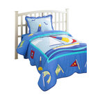 Hallmart Collectibles - Nantucket 2 Pc Twin Quilt Set in Bright Blue w Multi-Colors (Twin) - Choose Size: Twin. Finished in a bright blue with bold multicolored lighthouses, sailboats and other oceanfront accents, this colorful quilt set will be a perfect way to bring a beach house spirit to any decor. Constructed of cotton and polyester in your choice of sizes, the set includes either one or two ruffled pillow shams. Quilt with Polyester filling. Made from Cotton. Multicolored. Fabric care: Dry clean only. Twin comforter: 68 in. W x 68 in. L. Full comforter: 86 in. W x 86 in. L. 2-Piece twin comforter set includes: One twin comforter and one standard sham. 3-Piece full comforter set includes: One full comforter and two standard shams