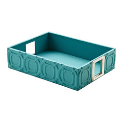 "Arabesque Trapunto Rectangle Tray Turquoise - Trapunto, gives a raised relief of stitched design in our classic Arabesque pattern. These well scaled items are made with top grain, cowhide leather. 16""L x 12""W x 4""H."