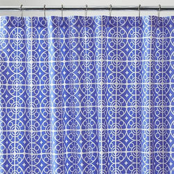 Taza Blue Shower Curtain - White medallions trellis on deep blue in a Moroccan-inspired pattern printed on sturdy cotton.
