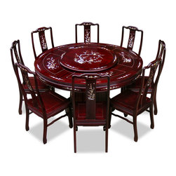 China Furniture and Arts - 60in Rosewood Pearl Inlay Design Round Dining Table with 8 Chairs - The symbol of unity and eternity represented in the circular shape is prevalent in Chinese art as seen in this round dinning table. Made of solid rosewood and constructed with joinery technique by artisans in China. Accompanied by eight matching chairs, the exquisite mother-of-pearl decoration is hand-inlaid throughout the entire table. A removable lazy Susan situates in the center providing convenience for passing the dishes. A fine example of traditional Chinese dinning set. Hand applied dark cherry finish enhances the beauty of the pearl inlaid.