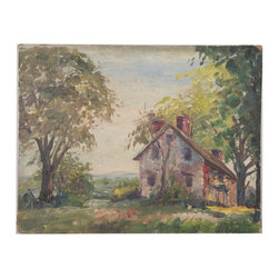 "Landscape by H. C. Judge - Consigned Vintage Artwork - Charming landscape with great vintage appeal.  Signed ""Helene Chatelain Judge,"" a listed artist, lower right.  Unframed."