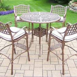 Oakland Living - 5-Pc Patio Bar set - Includes bar table with umbrella opening and four bar stools with cushions. Fade, chip and crack resistant. Traditional lattice pattern. Metal hardware. Warranty: One year. Made from rust-free cast aluminum. Antique bronze hardened powder coat finish. Minimal assembly required. Table: 42 in. Dia. x 44 in. H (60 lbs.). Stool: 21.5 in. W x 22 in. D x 46 in. H (47 lbs.)This five piece Bar Set will be a beautiful addition to your patio, balcony or outdoor entertainment area. Bar sets are perfect for any small space, or to accent a larger space. The Oakland elite collection combines old world charm and modern designs giving you a rich addition to any outdoor setting. Each piece is hand cast and finished for the highest quality possible.