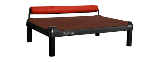 DoggySnooze - snoozeSleeper, Anodized Frame, Memory Foam Long, 1 Bolster Red - It's a dog's life for pooches who get to snooze on this contemporary dog bed. Elevated for comfort with a sturdy bolster for support, this bed comes in a selection of colors to complement your home or office decor. Made in the USA and available in three sizes, with optional black anodized frame long legs and memory foam.