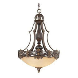 Savoy House - Savoy House 7-0154-3-76 Southerby 3 Light Pendant in Florencian Bronze 7-0154-3- - A favorite of Savoy House designers, this full family finished in Florencian Bronze with cream textured glass features incredibly intricate cast iron banding. Southerby is a classic example of graceful Southern elegance mixed with a touch of European flair.Cream TexturedBulb Included: No Bulb Type: Incandescent Collection: Southerby Design Style: Loire Valley Energy Star Compliant: No Finish: Florencian Bronze Height: 28-3 4 Light Direction: Down Lighting Max Wattage: 100 Number of lights: 3 Pendant Type: Bowl Shaped Safety Rating: UL, CUL Socket 1 Base: Edison Socket 1 Max Wattage: 100 Style: Tuscan Suggested Room Fit: Entry Foyer Voltage: 120 Weight: 37 Width: 19-1 4