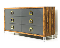 Brixton Dresser in Rosewood - Blending masculine and feminine together, the Rosewood Brixton Dresser offers the best of both worlds. The rosewood frame and black finish drawers give off a warm industrial vibe while the unique brass pull bars and short Lucite legs offer a glamorous touch.