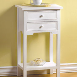 White Table with 2 Drawers - Small accent tables are perfect to place near a chair or even beside a bed.  They offer space for a lamp, your favorite books and of course, a cup of hot chocolate or a glass of iced tea.