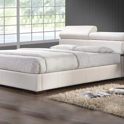 Coaster - California King Bed, White - This sleek bed has 2 adjustable pillow-like tops at the headboard to maximize comfort. Keep your important personal items close with the convenient hidden drawer which pulls out from the bed headboard. Express your modern side with the Maxine contemporary bed.