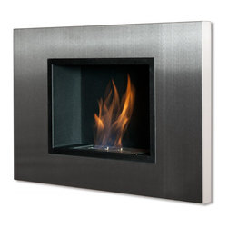 "Ignis Products - Quadra Recessed Ventless Ethanol Fireplace - Make the most use of the space you have with this Quadra Recessed Ventless Ethanol Fireplace that only protrudes 4.5 inches from your wall. This ethanol fireplace can be hung easily on any wall where you want to add a stylish look. It has a stainless steel frame with black powder-coated accents, and it is equipped with a 1.5-liter burner that throws out 6,000 BTUs of efficient, clean-burning heat without the mess and the fuss of a wood-burning fireplace. This unit installs easily without a chimney, and you don't need gas or electric lines to install it. It comes with a damper and hardware needed for installation. Dimensions: 30.75"" x 21.25"" x 4.5"". Features: Ventless - no chimney, no gas or electric lines required. Easy or no maintenance required. Easy Installation - Can be mounted directly on the wall or recessed (mounting brackets included). Capacity: 1.5 Liter. Approximate burn time - 5 hour per refill. Approximate BTU output - 6000."