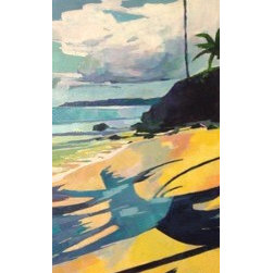 "Tavares  (Original) by Stacy Vosberg - Expressionist Landscspe beach scape from Tavares beach on the north shore of Maui. This somewhat ""off the beaten path"" beach is one of my secret spots on Maui. Warm yellow sand and cool blue oceans- ahh!"