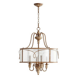 Joshua Marshal - Four Light Clear Seeded Glass French Umber Drum Shade Pendant - Four Light Clear Seeded Glass French Umber Drum Shade Pendant
