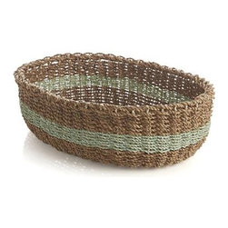 Muse Green Stripe Basket - A pale green band adds a ring of color to the earthy neutrals of our chunky basket handwoven of lampakanay and abaca fibers. Great for serving breads, storing fresh vegetables or serving as a countertop catchall.