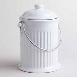 White Ceramic Compost Bucket -