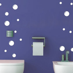 ColorfulHall Co., LTD - Bath Cling Family 3 Sizes 21 Bubbles Dot Print Art Decoration Pattern, White - Bath Cling Family 3 Sizes 21 Bubbles Dot Print Art Decoration Pattern