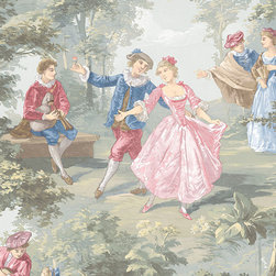 Extra Large Toile in Pink, Blue, and Green - GC29834 - Collection:Grand Chateau