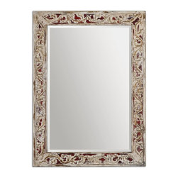 Uttermost - Uttermost Barcelos Antique Mirror 14541 - Frame, with its flowing leaf pattern, features a heavily distressed, aged ivory finish with burnt red undertones and highlights. Mirror is beveled. May be hung horizontal or vertical.