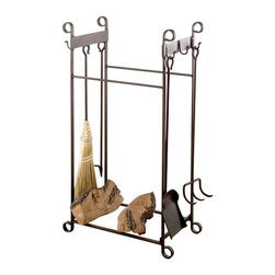 Renovators Supply - Fireplace Tools Wrought Iron 4 Piece Fireplace Tool & Log Stand - Keep your hearth looking cozy and inviting with this combination fireplace tool set and log stand.