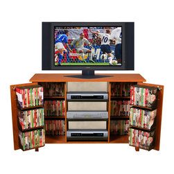 Venture Horizon - Multi-Media Audio Video Cabinet - Cherry - Our locking, double wide cabinets offer secure storage (in cabinet and on pocket doors) for expensive DVD's, CD's Video Tapes and more. It is also a welcome deterrent to curious young children.