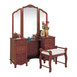 Adarn Inc - Traditional Vanity Set Tri-fold Mirror Fabric Seat Make Up Table Dresser Drawer - This beautiful vanity will help you create a spacious and comfortable place to prepare for your day. Place this generously sized vanity in your traditional bedroom or dressing area. Each side features a pedestal with three spacious storage drawers, ideal for make-up, hair products, and other commonly used items. A center glass surface, and an area on each side, offer lots of space for perfume and decorative items. Gorgeous carvings, a shaped apron, and simple bronze colored hardware enhance this elegant look. A tri-fold mirror will reflect light in your room, and help you prepare for your day, featuring a curved crown with carved detail, all in the same warm medium wood finish over birch veneers. The matching stool features elegant curved legs and side rails, with a plush seat in a sophisticated neutral fabric. Add this stunning vanity set to your home for an instant style update, and tons of useful storage.