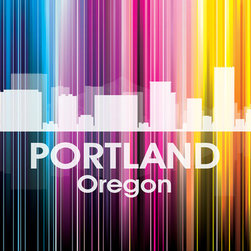 Portland Vertical Lined Rainbow Print - Known for rain, microbreweries and coffee, the City of Roses shines bright in a rainbow of color. Show off a little city pride with the digital and photographic layers on this mixed-media art that captures all of its vibrancy.