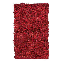 Safavieh - Shag Leather Shag 6'x9' Rectangle Red Area Rug - The Leather Shag area rug Collection offers an affordable assortment of Shag stylings. Leather Shag features a blend of natural Red color. Hand Knotted of Leather the Leather Shag Collection is an intriguing compliment to any decor.