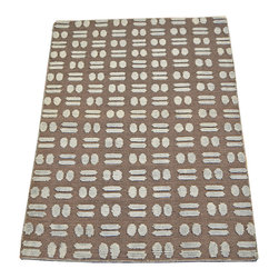 1800-Get-A-Rug - Modern Chocolate Brown Hand Knotted Rug Raised Wool and Silk Sh7430 - About Modern & Contemporary