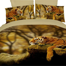 Dolce Mela - Safari Themed Luxury Bedding Duvet Covet Set Dolce Mela DM458, Queen - Create a wild safari themed decor in your bedroom with this lifelike print featuring a tiger resting on a tree branch.