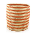 Handmade Striped Bath Bin- Tangerine - Versatile in their use, these decorative baskets are graphic and sculptural for today's modern decor. Use them to toss used towels or to house firewood by the fireplace. Form meets function!