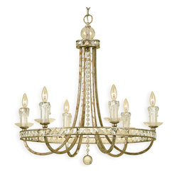 Kathy Kuo Home - Aris Soft Gold Crystal Hollywood Regency 6 Light Chandelier - Celebrate your inner Trump and showcase this impressive soft gold chandelier over your dining table, stairway or bed. The crystal and glass accents dazzle when lit, leading people to wonder how much more you're making at that new job of yours.