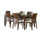 """Steve Silver Furniture - Steve Silver Harlow 7-Piece Rectangular Dining Room Set in Tobacco and Cherry - Western style meets Eastern influence with the contemporary Harlow Dining Collection. The Harlow Dining table has a 60"""" x 60"""" surface that expands to 60"""" x 78"""" with the included 18"""" leaf."""