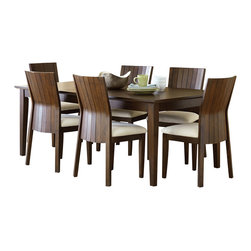 "Steve Silver Furniture - Steve Silver Harlow 7-Piece Rectangular Dining Room Set in Tobacco and Cherry - Western style meets Eastern influence with the contemporary Harlow Dining Collection. The Harlow Dining table has a 60"" x 60"" surface that expands to 60"" x 78"" with the included 18"" leaf."