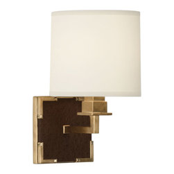 Robert Abbey - Robert Abbey Mary McDonald Spence Wall Sconce 2582 - Cinnamon Faux Ostrich Leather with Natural Brass Accents