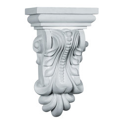 "Ekena Millwork - 7 7/8""W x 5 1/8""D x 13 3/8""H Beaded with Leaves Corbel - 7 7/8""W x 5 1/8""D x 13 3/8""H Beaded with Leaves Corbel. These corbels are truly unique in design and function. Primarily used in decorative applications urethane corbels can make a dramatic difference in kitchens, bathrooms, entryways, fireplace surrounds, and more. This material is also perfect for exterior applications. It will not rot or crack, and is impervious to insect manifestations. It comes to you factory primed and ready for your paint, faux finish, gel stain, marbleizing and more. With these corbels, you are only limited by your imagination."